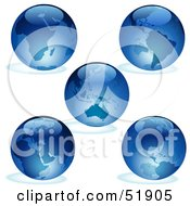 Royalty Free RF Clipart Illustration Of A Digital Collage Of Blue Earths by dero