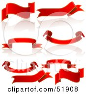 Royalty Free RF Clipart Illustration Of A Digital Collage Of Red Banners And Scrolls Version 2