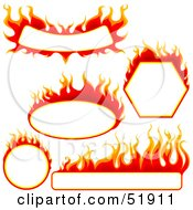 Royalty Free RF Clipart Illustration Of A Digital Collage Of Red Fire Banners With White Space