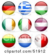 Royalty Free RF Clipart Illustration Of A Digital Collage Of Round Flag Buttons Germany Greece Hungary Ireland Italy Latvia Lithuania Netherlands Malta