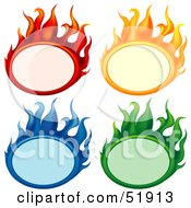Digital Collage Of Colorful Flame Banners
