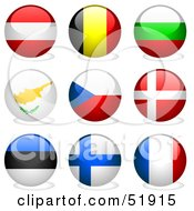 Royalty Free RF Clipart Illustration Of A Digital Collage Of Round Flag Buttons Austria Belgium Bulgaria Cyprus Czech Republic Denmark Estonia Finland France by dero