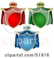 Royalty Free RF Clipart Illustration Of A Digital Collage Of Three Coat Of Arms Banners by dero