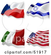 Royalty Free RF Clipart Illustration Of A Digital Collage Of Wavy Flags Czech Israel Italy America by dero
