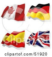 Royalty Free RF Clipart Illustration Of A Digital Collage Of Wavy Flags Canada Germany Spain United Kingdom by dero
