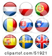 Royalty Free RF Clipart Illustration Of A Digital Collage Of Round Flag Buttons Netherlands Poland Portugal Romania Slovakia Slovenia Spain Sweden Great Britain
