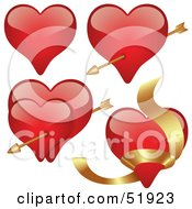 Royalty-Free (RF) Clipart Illustration of a Digital Collage Of Red Love Heart Elements - Version 2 by dero