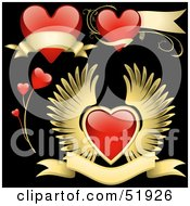 Digital Collage Of Red Love Heart Elements - Version 7