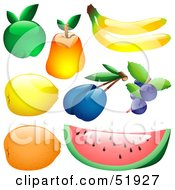 Royalty Free RF Clipart Illustration Of A Digital Collage Of Shiny Fruit Apple Pear Banana Lemon Plum Blueberries Orange Watermelon by dero