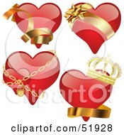 Royalty Free RF Clipart Illustration Of A Digital Collage Of Red Love Heart Elements Version 3 by dero