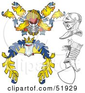 Royalty Free RF Clipart Illustration Of A Digital Collage Of Heraldic Helmet Elements Version 1