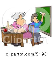 Female Math Teacher Watching Student Write A Math Equation On A Chalkboard Clipart