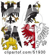 Royalty Free RF Clipart Illustration Of A Digital Collage Of Heraldic Eagle Elements Version 3