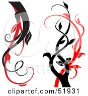 Poster, Art Print Of Digital Collage Of Red And Black Vine Elements