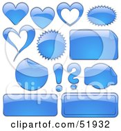Royalty Free RF Clipart Illustration Of A Digital Collage Of Blue Design Elements Hearts Bursts Seals Labels And Punctuation