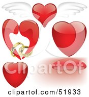 Royalty Free RF Clipart Illustration Of A Digital Collage Of Red Love Heart Elements Version 4 by dero
