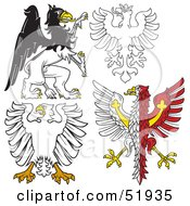 Digital Collage Of Heraldic Eagle Elements Version 1