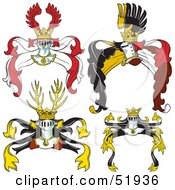 Royalty Free RF Clipart Illustration Of A Digital Collage Of Heraldic Helmet Elements Version 5 by dero