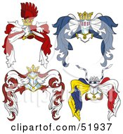 Royalty Free RF Clipart Illustration Of A Digital Collage Of Heraldic Helmet Elements Version 8 by dero