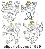 Royalty Free RF Clipart Illustration Of A Digital Collage Of Heraldic Lion Elements Version 2