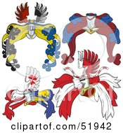 Royalty Free RF Clipart Illustration Of A Digital Collage Of Heraldic Helmet Elements Version 3 by dero