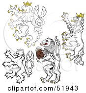 Royalty Free RF Clipart Illustration Of A Digital Collage Of Heraldic Lion Elements Version 1