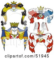 Royalty Free RF Clipart Illustration Of A Digital Collage Of Heraldic Helmet Elements Version 2 by dero