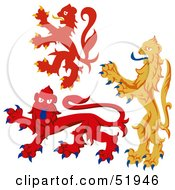 Royalty Free RF Clipart Illustration Of A Digital Collage Of Heraldic Lion Elements Version 5