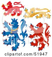 Royalty Free RF Clipart Illustration Of A Digital Collage Of Heraldic Lion Elements Version 4