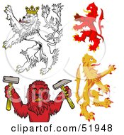 Royalty Free RF Clipart Illustration Of A Digital Collage Of Heraldic Lion Elements Version 3