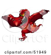 Royalty Free RF Clipart Illustration Of A Mean Red Flying Dragon by dero