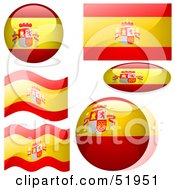 Royalty Free RF Clipart Illustration Of A Digital Collage Of Spain Flag Icons by dero