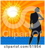 Royalty-Free (RF) Clipart Illustration of a Silhouetted Woman Standing On A Beach Under A Sunset Ocean Sky by dero