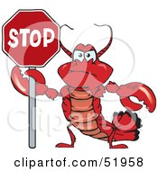 Royalty Free RF Clipart Illustration Of An Angry Lobster Holding Up A Stop Sign by Dennis Holmes Designs