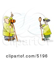 Male  Female Surveyors At Work With Leveling Instruments