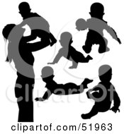 Royalty Free RF Clipart Illustration Of A Digital Collage Of Baby Silhouettes Version 3