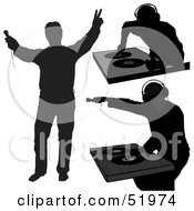 Royalty Free RF Clipart Illustration Of A Digital Collage Of DJ Silhouettes Version 6