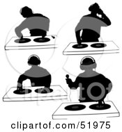 Royalty Free RF Clipart Illustration Of A Digital Collage Of DJ Silhouettes Version 4