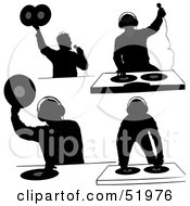 Royalty Free RF Clipart Illustration Of A Digital Collage Of DJ Silhouettes Version 5
