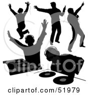 Royalty Free RF Clipart Illustration Of A Digital Collage Of DJ Silhouettes Version 2
