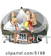 Husband And Wife Getting Taxes Done By Their Professional Accountant Clipart