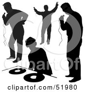 Royalty Free RF Clipart Illustration Of A Digital Collage Of DJ Silhouettes Version 1