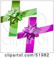 Royalty Free RF Clipart Illustration Of A Digital Collage Of Green And Purple Present Bows