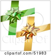 Royalty Free RF Clipart Illustration Of A Digital Collage Of Green And Gold Present Bows by dero