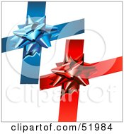 Royalty Free RF Clipart Illustration Of A Digital Collage Of Blue And Red Present Bows