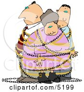 Family People Tied Up By An Intruder Clipart by Dennis Cox