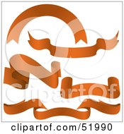 Royalty Free RF Clipart Illustration Of A Digital Collage Of Orange Banners Version 2
