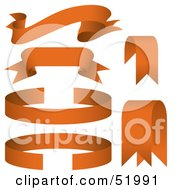 Royalty Free RF Clipart Illustration Of A Digital Collage Of Orange Banners Version 6