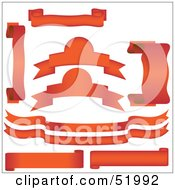 Royalty Free RF Clipart Illustration Of A Digital Collage Of Red Banners And Scrolls Version 1