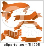 Royalty Free RF Clipart Illustration Of A Digital Collage Of Orange Banners Version 1